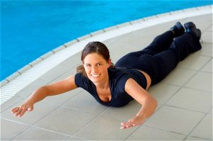 Woman doing a lower back extension exercise